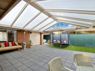 Gable Pergola with Flat Polycarbonate roofing built by Creative Outdoors in Salisbury Heights