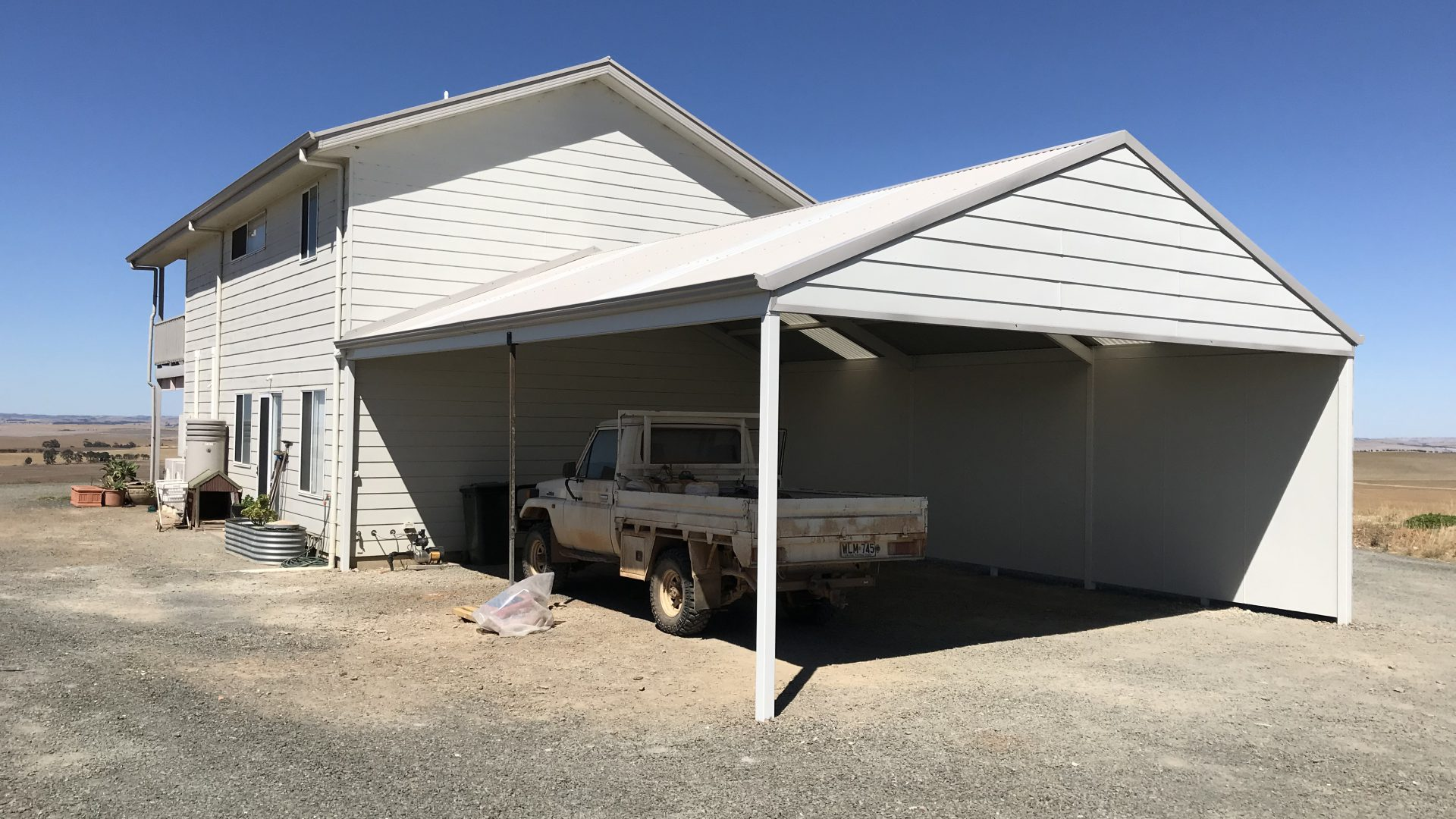 Creative Outdoors Carport Gable with Corrugated Roofing & Fibre Cement Walling